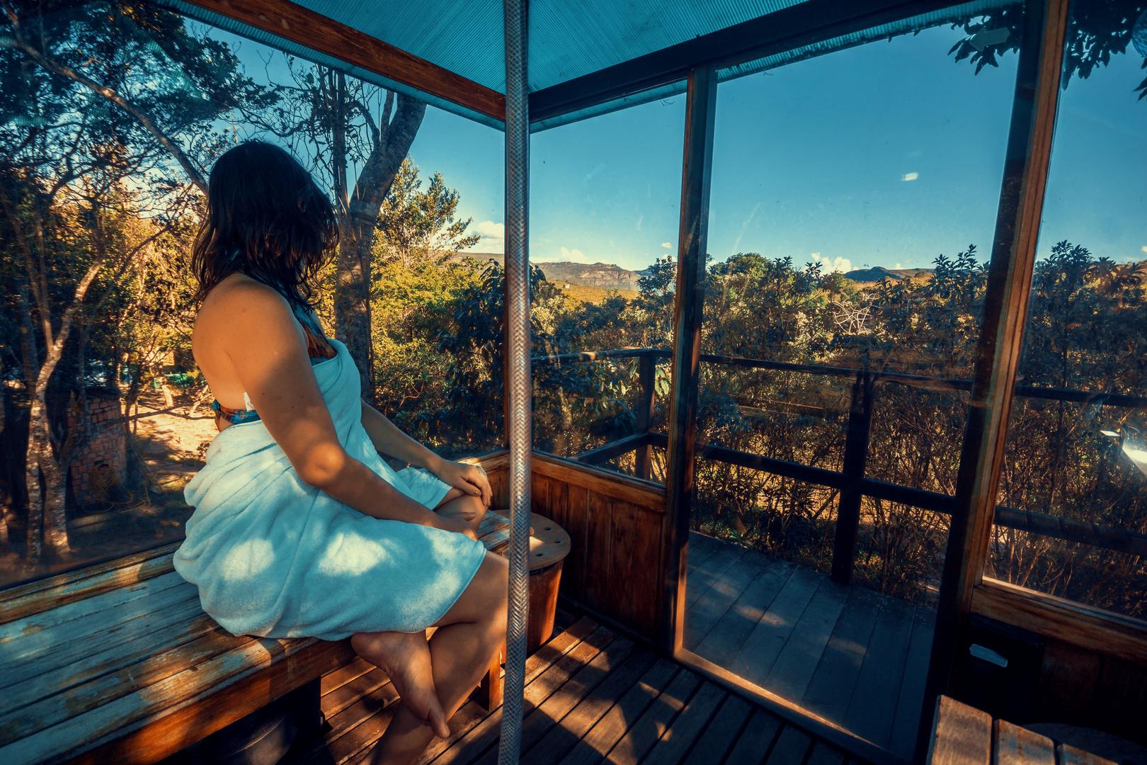 No Vale do Capão, sauna panorâmica